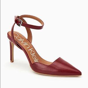 NIB Calvin Klein Raffaela Red Leather Stilettos